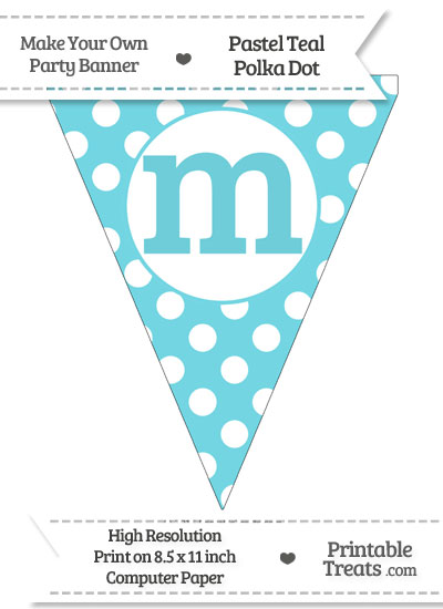 Pastel Teal Polka Dot Pennant Flag Lowercase Letter M from PrintableTreats.com