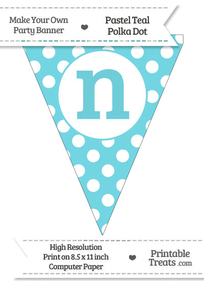 Pastel Teal Polka Dot Pennant Flag Lowercase Letter N from PrintableTreats.com