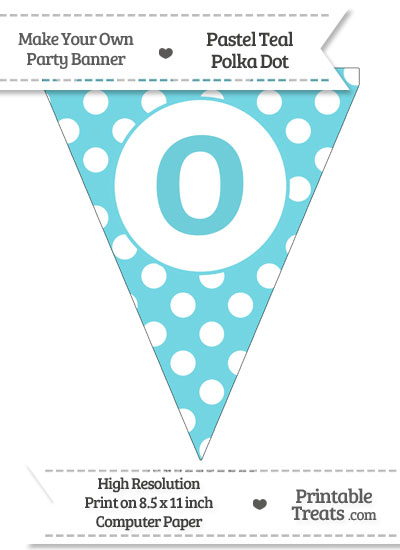 Pastel Teal Polka Dot Pennant Flag Lowercase Letter O from PrintableTreats.com