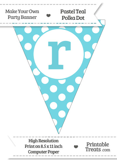 Pastel Teal Polka Dot Pennant Flag Lowercase Letter R from PrintableTreats.com