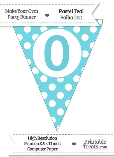 Pastel Teal Polka Dot Pennant Flag Number 0 from PrintableTreats.com
