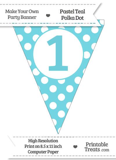 Pastel Teal Polka Dot Pennant Flag Number 1 from PrintableTreats.com