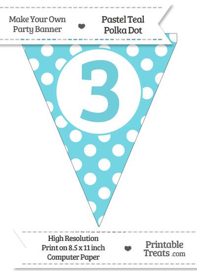 Pastel Teal Polka Dot Pennant Flag Number 3 from PrintableTreats.com