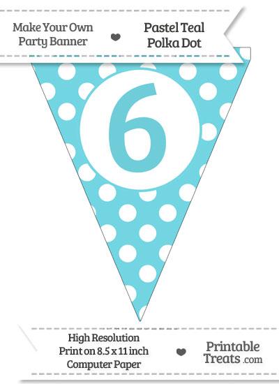 Pastel Teal Polka Dot Pennant Flag Number 6 from PrintableTreats.com