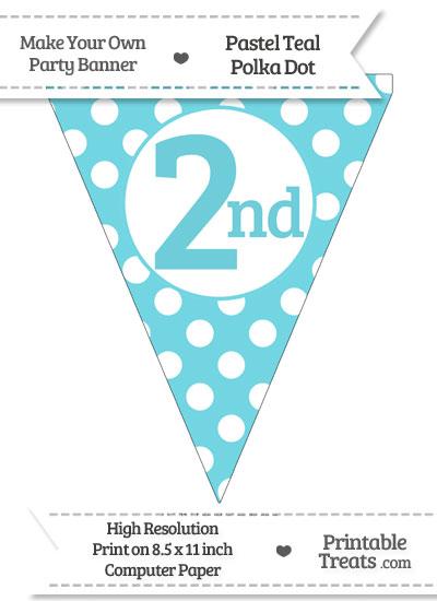 Pastel Teal Polka Dot Pennant Flag Ordinal Number 2nd from PrintableTreats.com
