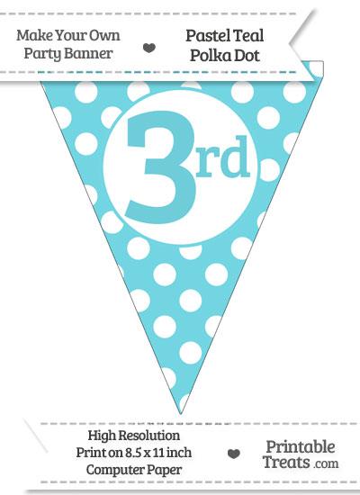 Pastel Teal Polka Dot Pennant Flag Ordinal Number 3rd from PrintableTreats.com