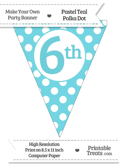 Pastel Teal Polka Dot Pennant Flag Ordinal Number 6th from PrintableTreats.com