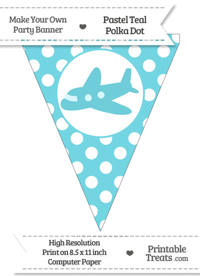 Pastel Teal Polka Dot Pennant Flag with Airplane Facing Left from PrintableTreats.com