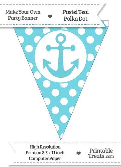 Pastel Teal Polka Dot Pennant Flag with Anchor from PrintableTreats.com