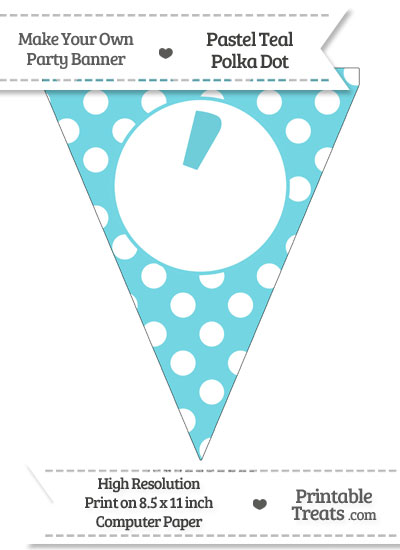 Pastel Teal Polka Dot Pennant Flag with Apostrophe from PrintableTreats.com