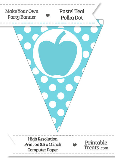 Pastel Teal Polka Dot Pennant Flag with Apple from PrintableTreats.com