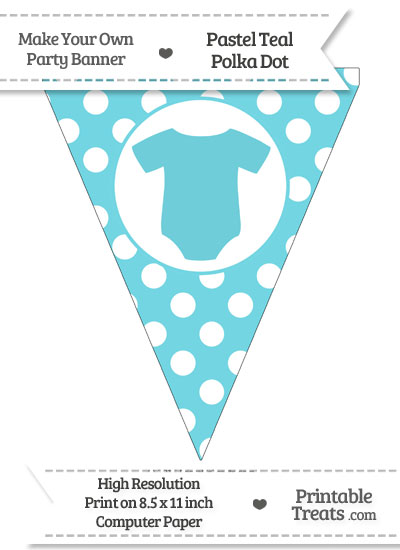 Pastel Teal Polka Dot Pennant Flag with Baby Onesie from PrintableTreats.com