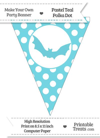 Pastel Teal Polka Dot Pennant Flag with Bat from PrintableTreats.com