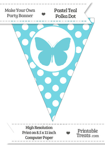 Pastel Teal Polka Dot Pennant Flag with Butterfly from PrintableTreats.com