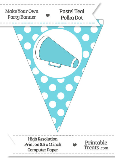 Pastel Teal Polka Dot Pennant Flag with Cheer Megaphone Facing Left from PrintableTreats.com
