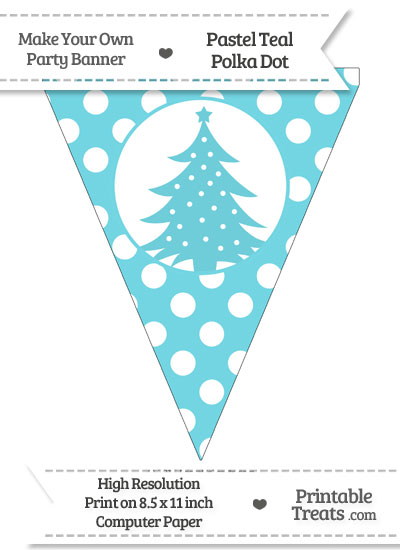Pastel Teal Polka Dot Pennant Flag with Christmas Tree from PrintableTreats.com