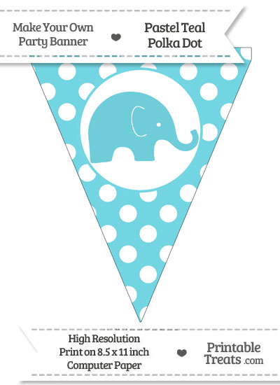 Pastel Teal Polka Dot Pennant Flag with Elephant Facing Right from PrintableTreats.com