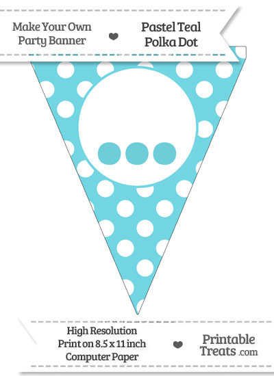 Pastel Teal Polka Dot Pennant Flag with Ellipses from PrintableTreats.com