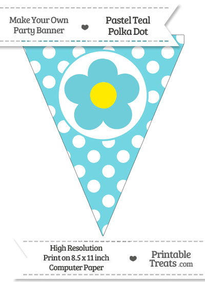 Pastel Teal Polka Dot Pennant Flag with Flower from PrintableTreats.com