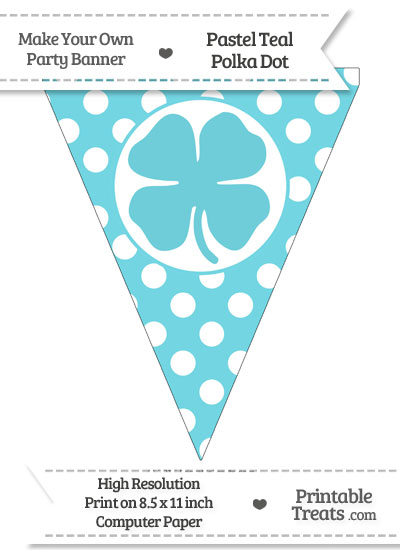 Pastel Teal Polka Dot Pennant Flag with Four Leaf Clover Facing Left from PrintableTreats.com