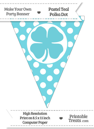 Pastel Teal Polka Dot Pennant Flag with Four Leaf Clover Facing Right from PrintableTreats.com