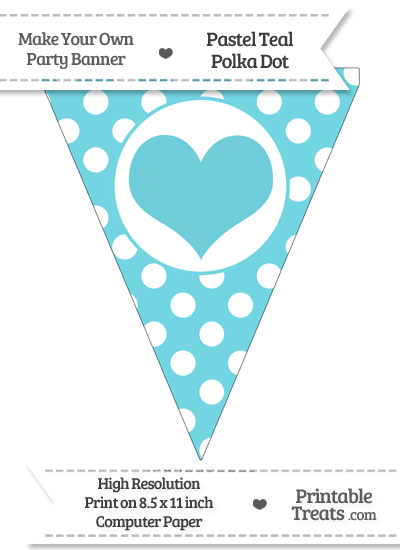 Pastel Teal Polka Dot Pennant Flag with Heart from PrintableTreats.com