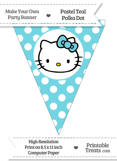 Pastel Teal Polka Dot Pennant Flag with Hello Kitty from PrintableTreats.com