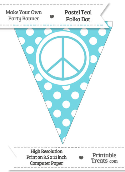Pastel Teal Polka Dot Pennant Flag with Peace Sign from PrintableTreats.com
