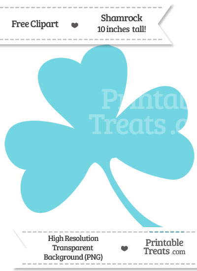 Pastel Teal Shamrock Clipart from PrintableTreats.com