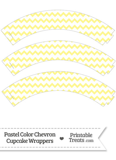 Pastel Yellow Chevron Cupcake Wrappers from PrintableTreats.com