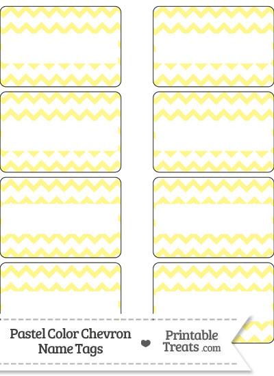 Pastel Yellow Chevron Name Tags from PrintableTreats.com