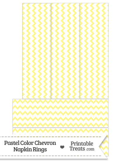 Pastel Yellow Chevron Napkin Rings from PrintableTreats.com