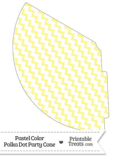 Pastel Yellow Chevron Party Cone from PrintableTreats.com