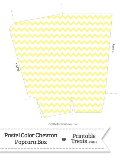 Pastel Yellow Chevron Popcorn Box from PrintableTreats.com
