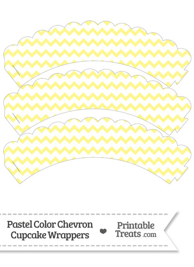 Pastel Yellow Chevron Scalloped Cupcake Wrappers from PrintableTreats.com