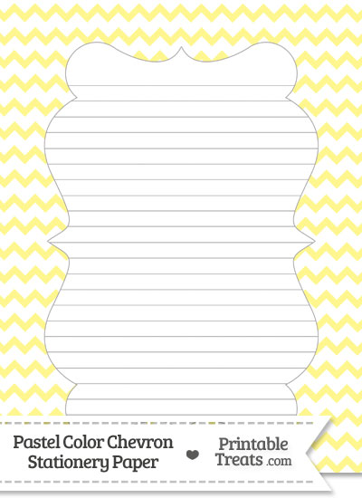 Pastel Yellow Chevron Stationery Paper from PrintableTreats.com