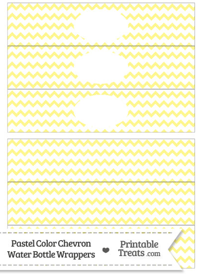 Pastel Yellow Chevron Water Bottle Wrappers from PrintableTreats.com