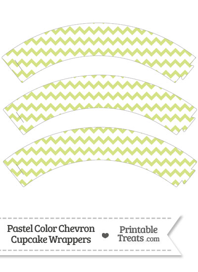 Pastel Yellow Green Chevron Cupcake Wrappers from PrintableTreats.com