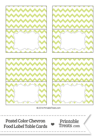 Pastel Yellow Green Chevron Food Labels from PrintableTreats.com