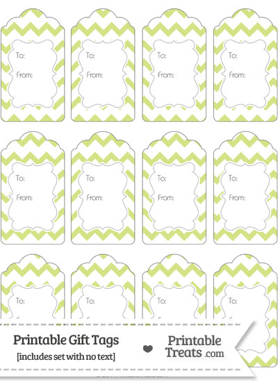 Pastel Yellow Green Chevron Gift Tags from PrintableTreats.com