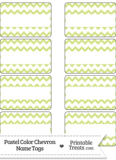 Pastel Yellow Green Chevron Name Tags from PrintableTreats.com