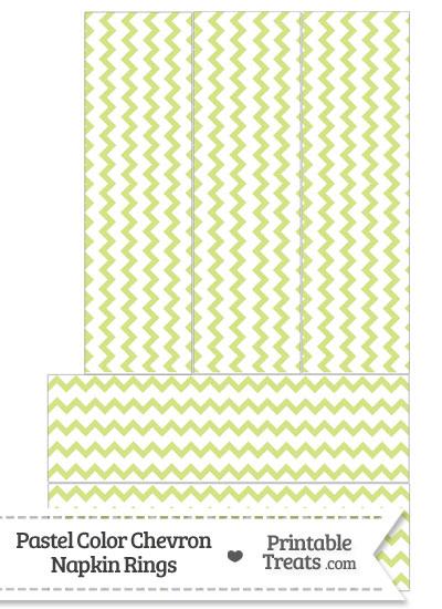 Pastel Yellow Green Chevron Napkin Rings from PrintableTreats.com