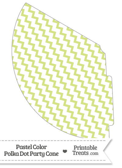Pastel Yellow Green Chevron Party Cone from PrintableTreats.com
