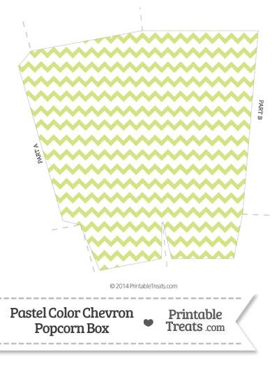 Pastel Yellow Green Chevron Popcorn Box from PrintableTreats.com