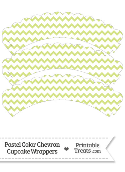 Pastel Yellow Green Chevron Scalloped Cupcake Wrappers from PrintableTreats.com