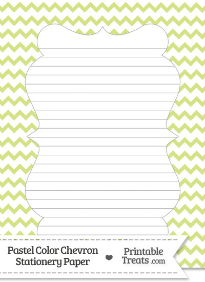 Pastel Yellow Green Chevron Stationery Paper from PrintableTreats.com