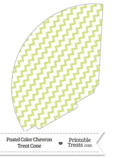 Pastel Yellow Green Chevron Treat Cone from PrintableTreats.com
