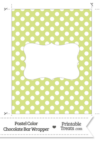 Pastel Yellow Green Polka Dot Chocolate Bar Wrappers from PrintableTreats.com