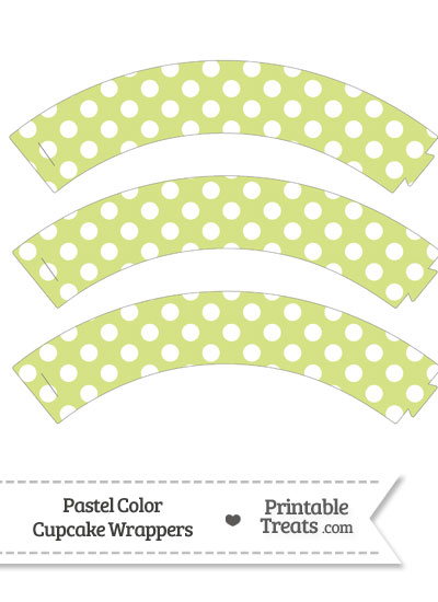 Pastel Yellow Green Polka Dot Cupcake Wrappers from PrintableTreats.com