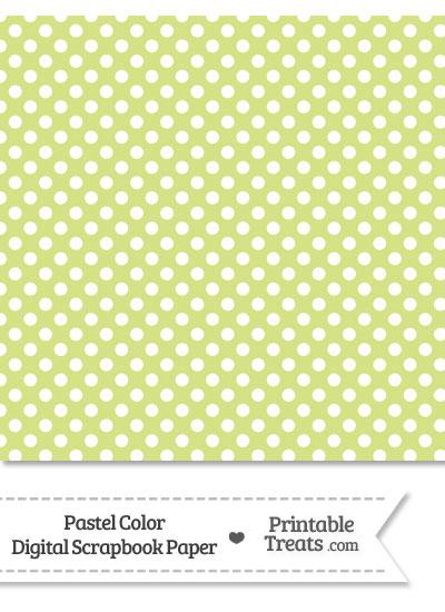 Pastel Yellow Green Polka Dot Digital Scrapbook Paper from PrintableTreats.com